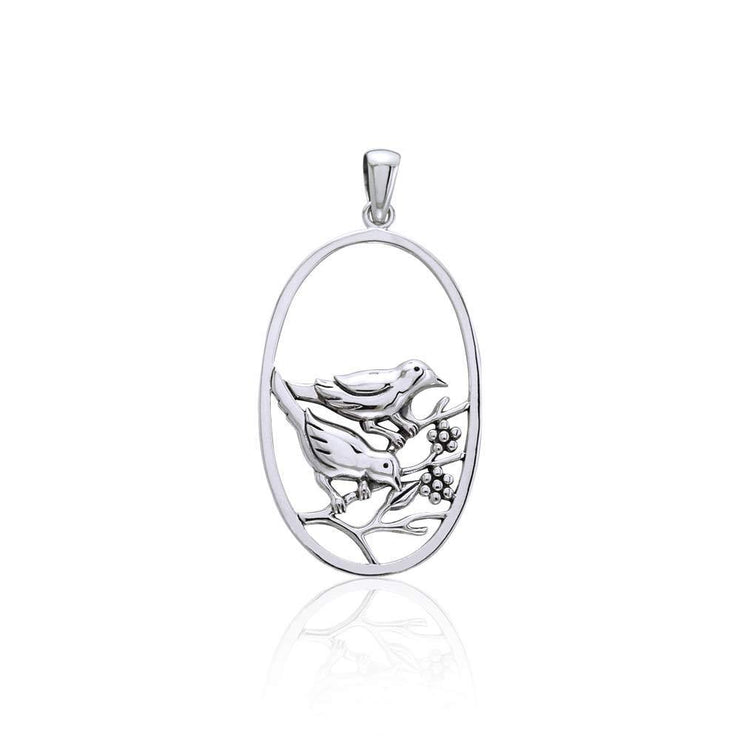 Birds Large Silver Pendant TPD3568