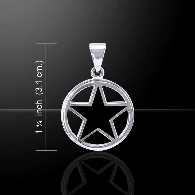 Inlay Stone Silver Pentacle Pendant TPD3573