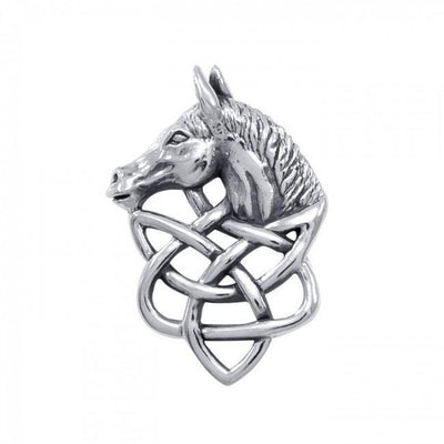 Silver Horsehead Knotwork Pendant TPD360