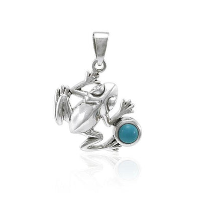 Jumping Frog with Stone Silver Pendant TPD3612