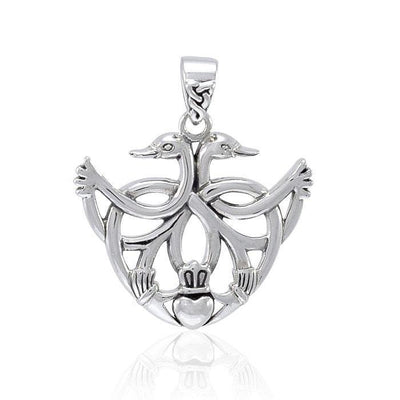 Faith for a happy ever after ~ Sterling Silver Celtic Swan Claddagh Pendant Jewelry TPD3708