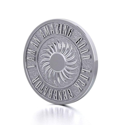Powerful I am an Amazing Good Luck Generator Silver Large Empower Coin TPD3734
