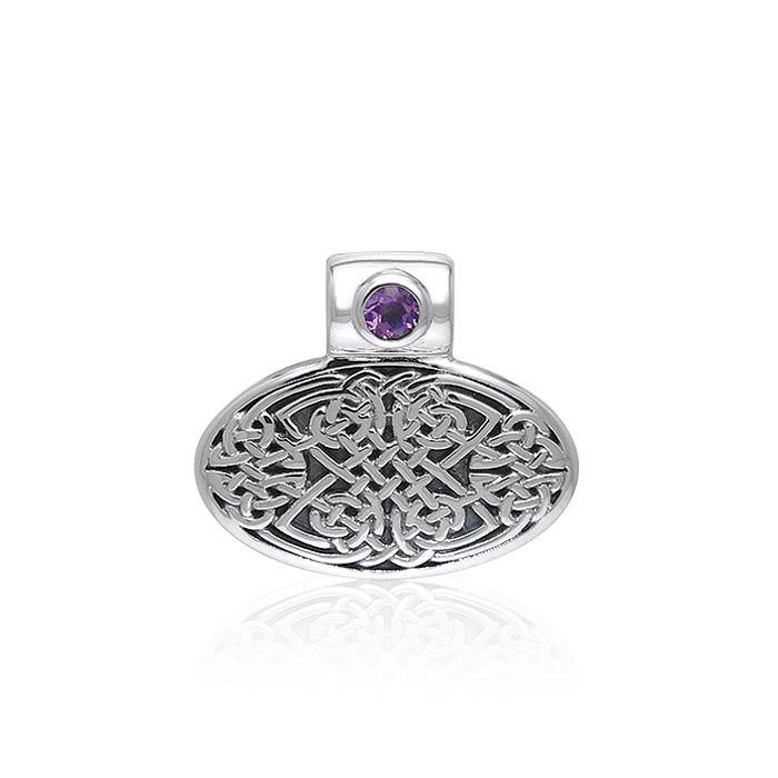 Celtic Knotwork Silver Pendant with Gem TPD377
