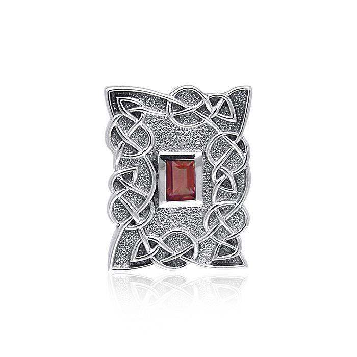 Gem Inlay Celtic Knotwork Silver Pendant TPD382 Pendant