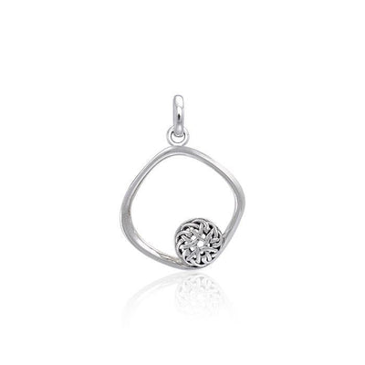 Square Silver Pendant with Celtic Ball TPD3849
