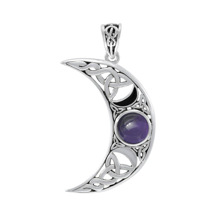 Blue Moon Large Silver Pendant with Gem and Enamel TPD4057
