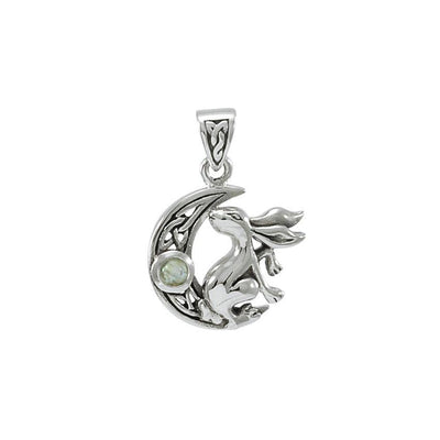 Rabbit on Crescent Moon Silver Pendant TPD4291