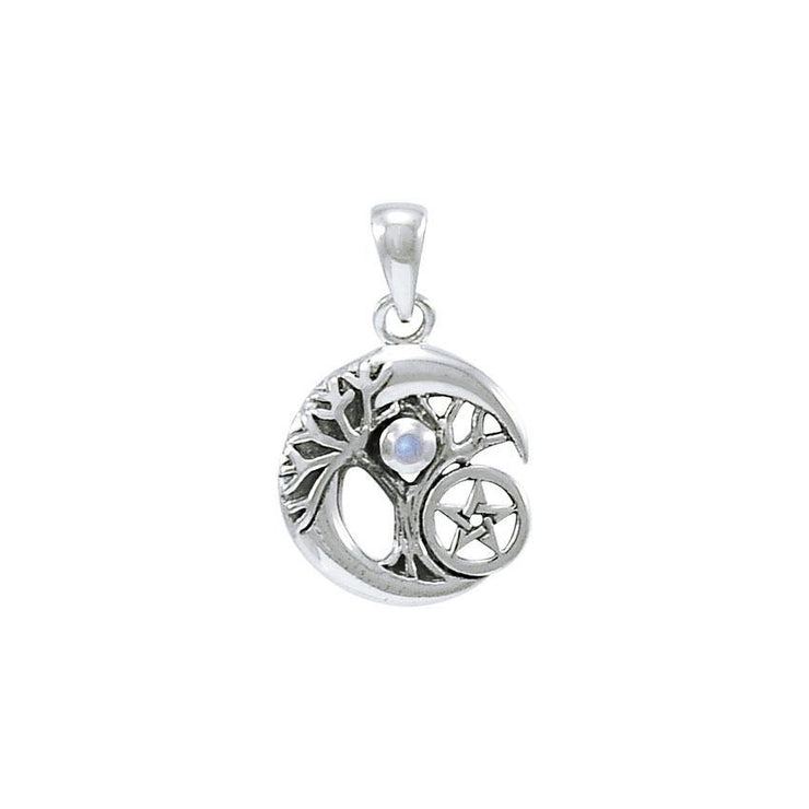 Crescent Moon Tree of Life with Pentacle Silver Pendant TPD4311