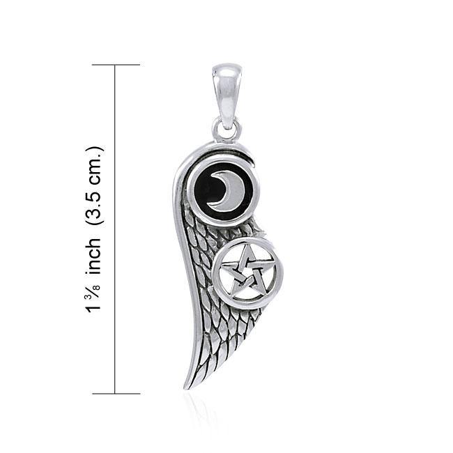 Wing with Moon and Star Silver Pendant with Black Enamel TPD4313