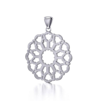 Rose Window Silver Celtic Pendant TPD447