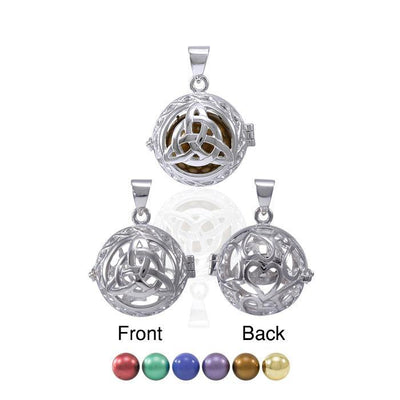 Global Harmony in Trinity ~ 16mm chiming harmony ball with a 25mm Sterling Silver Jewelry Pendant cage TPD4657