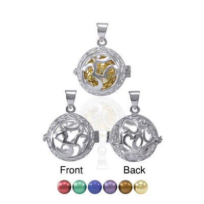 Global Harmony in Om ~16mm chiming harmony ball with a 25mm Sterling Silver Jewelry Pendant cage TPD4659