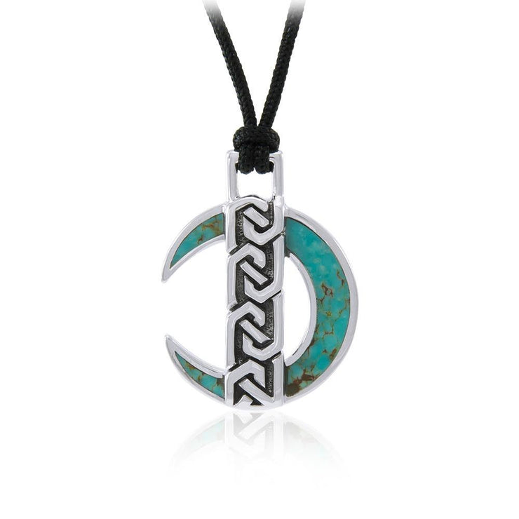 Celtic Crescent Moon Sterling Silver Pendant TPD4675