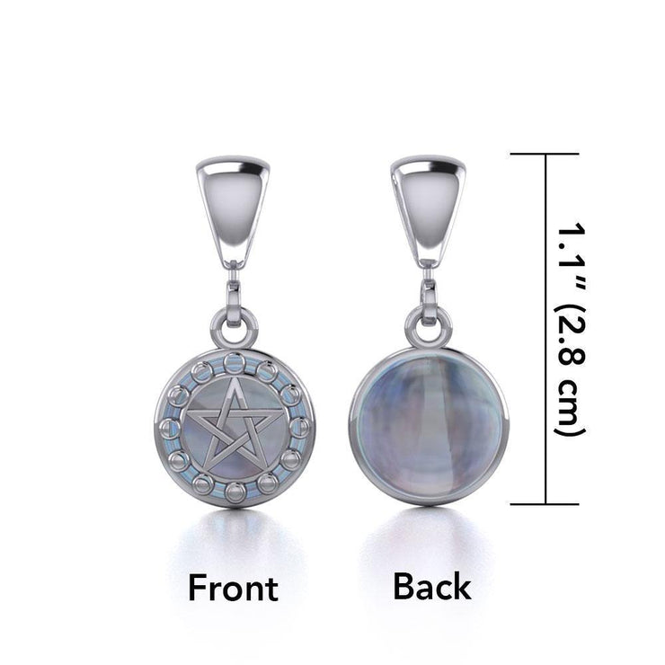 Silver Pentacle with Moon Phases Flip Pendant TPD477