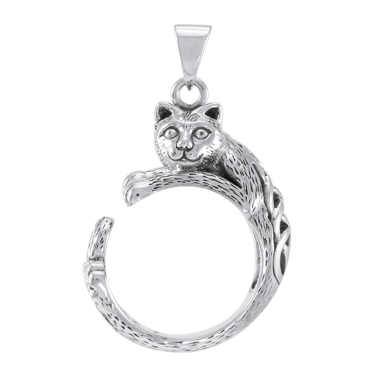 Sterling Silver Celtic Cat Pendant TPD4853 Pendant