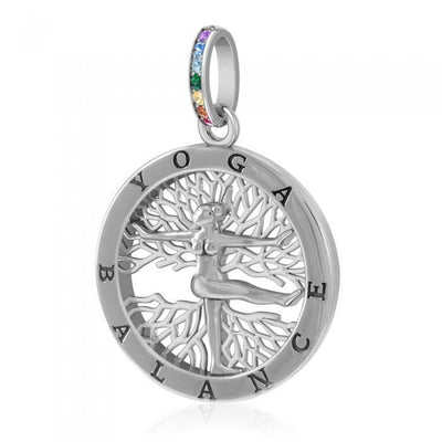 Yoga Balance Sterling Silver Pendant with Chakra Gemstone