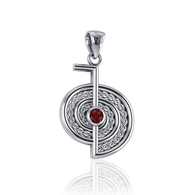 The Reiki Cho Ku Rei Sterling Silver Pendant with Gemstone TPD4923 Pendant