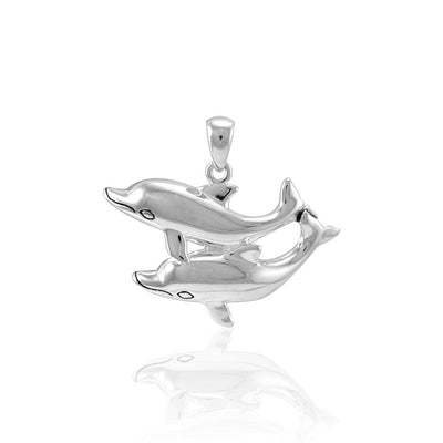 Double Dolphin Silver Pendant TPD5201