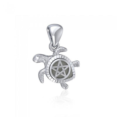 Sea Turtle with Pentacle Silver Pendant TPD5205