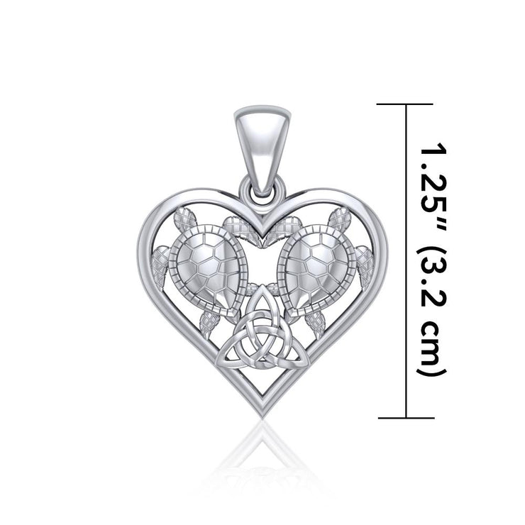 Silver Sea Turtles with Celtic Triquetra in Heart Pendant TPD5211