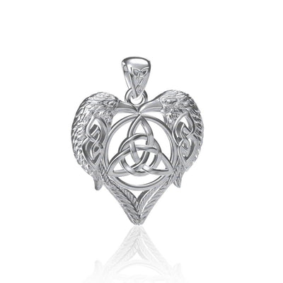 Silver Ravens Crows with Celtic Triquetra in Heart Pendant TPD5213 Pendant
