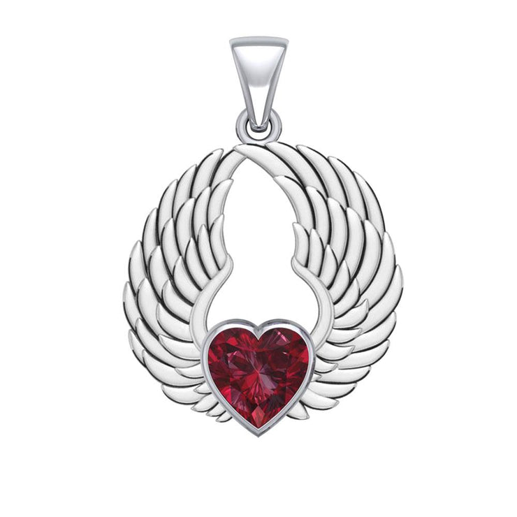 Gemstone Heart and Angel Wings Silver Pendant TPD5223