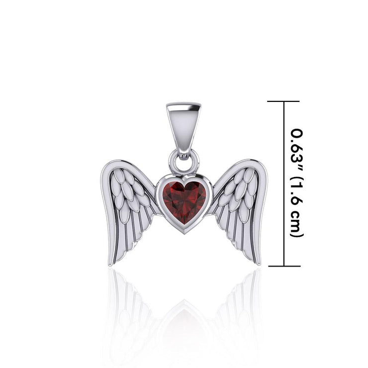 Gemstone Heart and Flying Angel Wings Silver Pendant TPD5228