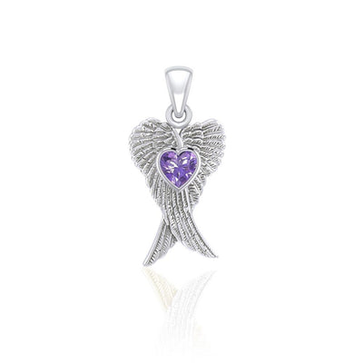 Heart Gemstone and Double Angel Wings Silver Pendant TPD5229 - Peter Stone Wholesale