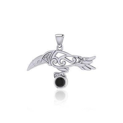 Celtic Spirit Raven with Gemstone Silver Pendant TPD5252 - Peter Stone Wholesale