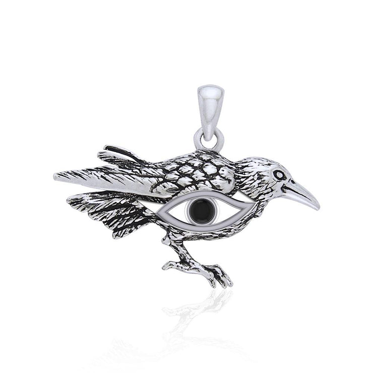 Mythical Raven with Gemstone Eye of Wisdom Silver Jewelry Pendant TPD5254