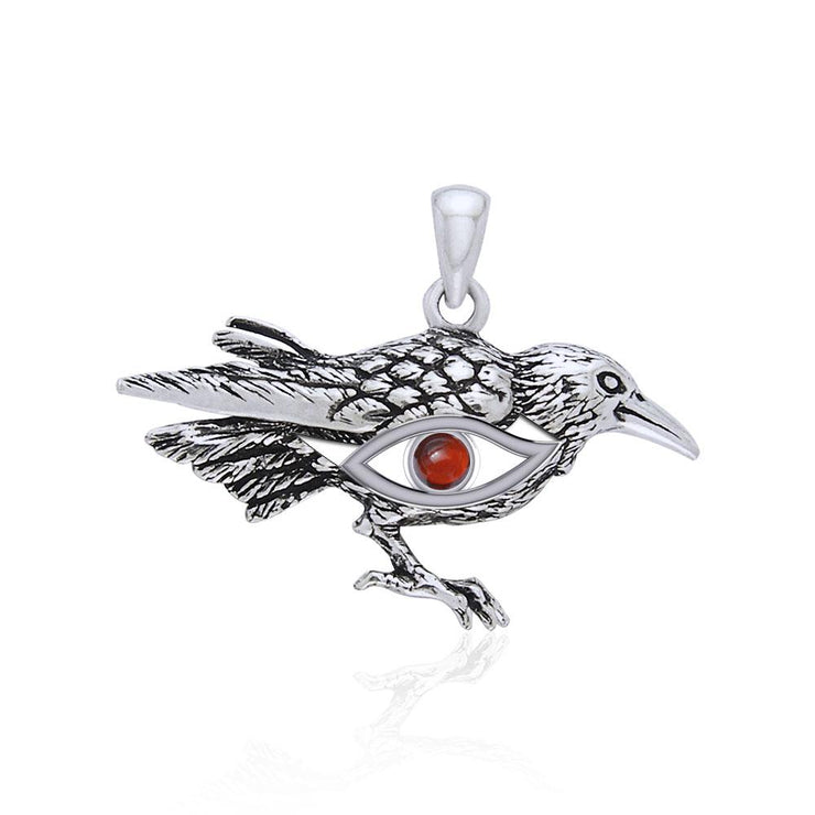 Mythical Raven with Gemstone Eye of Wisdom Silver Jewelry Pendant TPD5254 - Peter Stone Wholesale