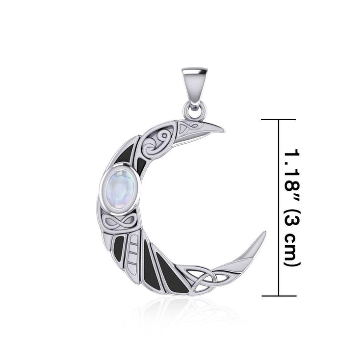 The Celtic Moon Raven Silver Pendant with Gemstone TPD5262