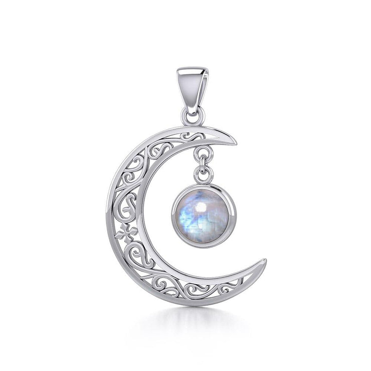The Filigree Moon Silver Pendant with Dangling Gemstone TPD5263 - Peter Stone Wholesale