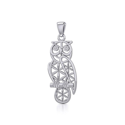Owl with Flower of Life Silver Pendant TPD5266