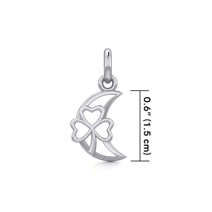 The Shamrock in Crescent Moon Silver Pendant TPD5268