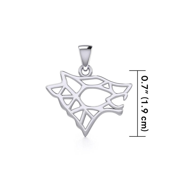 Geometric Wolf Silver Pendant TPD5270