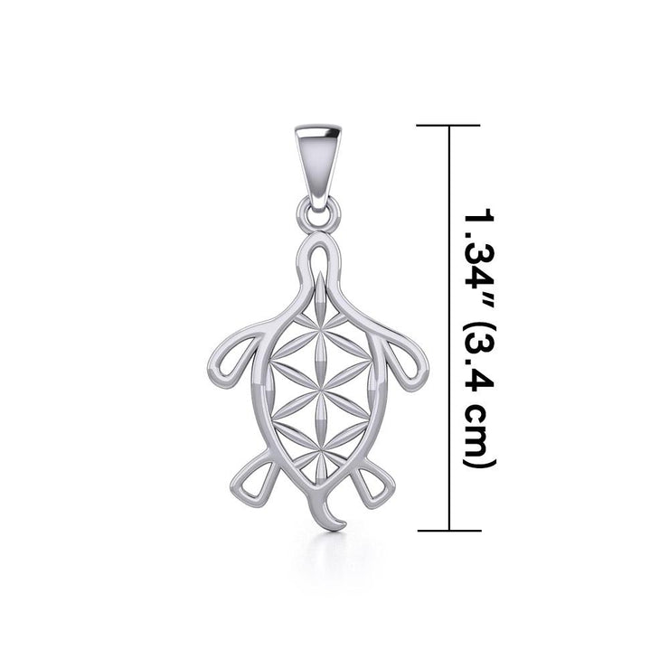 Turtle with Flower of Life Shell Silver Pendant TPD5271