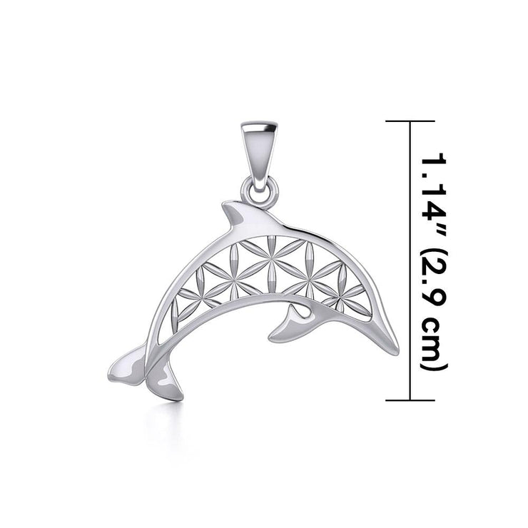 Swimming Dolphin with Flower of Life Silver Pendant TPD5272 - Peter Stone Wholesale