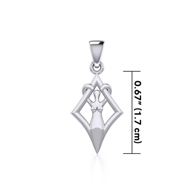 Goddess in Diamond Frame Silver Pendant TPD5278 - Peter Stone Wholesale