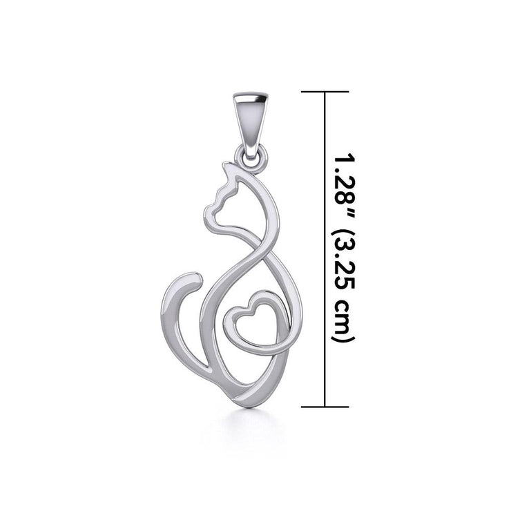 Running Cat with Heart Silver Pendant TPD5280