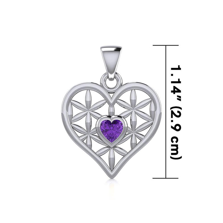 Silver Geometric Heart Flower of Life Pendant with Gemstone TPD5282