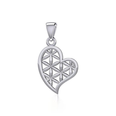 Silver Heart with Flower of Life Pendant TPD5284 - Peter Stone Wholesale
