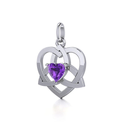 The Celtic Trinity Heart Silver Pendant with Gemstone TPD5287