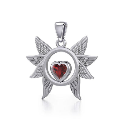Spreading Angel Wings Silver Pendant with Gemstone TPD5289