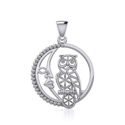 Silver Flower of Life Owl on The Crescent Moon Pendant TPD5301 Pendant