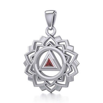 Crown Chakra with Recovery Gemstone Symbols Silver Pendant TPD5307