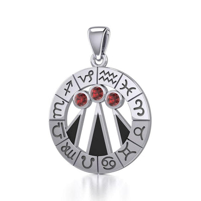 Zodiac Wheel with Awen The Three Rays of Light Silver Pendant TPD5308 Pendant