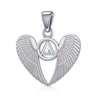 Silver Angel Wings Pendant with Inlaid Recovery Symbol TPD5320