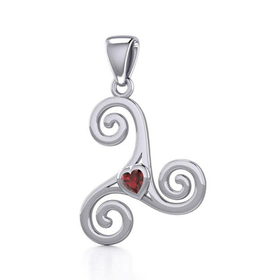 Celtic Spiral Triskele Silver Pendant with Heart Gemstone TPD5335 Pendant