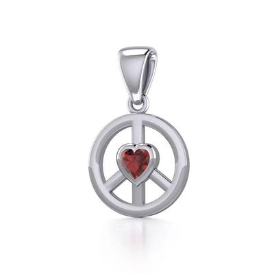 Peace Silver Pendant with Heart Gemstone TPD5339